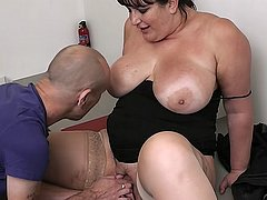 Chubby brunette fucks fat cock