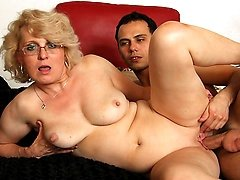 Young man makes love to granny babe
