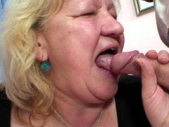 Mature moaner banged by two dudes