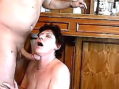 Brunette lewd mature has fuck from behind in bar