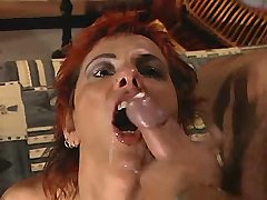 Redhead mature gets facial after fuck in all poses