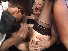 Mature fucks w two guys and gets big dildo in cunt