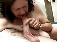 Grandma with huge tits throats dick