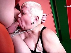 Horny mama boasting of total lack of gag reflex blows cock