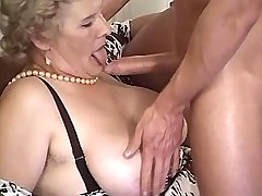 Aged lewd mature gets titsfuck n big dildo in cunt