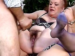 Two old matures gets fisting n cum