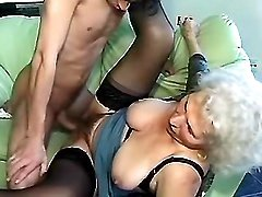 Grandma riding young cock