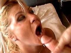 Cute mom drinks cum after anal fuck