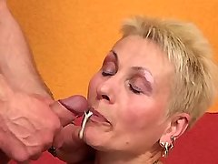 Aged mature in stockings gets facial after hot sex