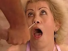 Granny has fuck on floor in bathroom n gets facial