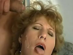 Chubby elder mature gets cum on face after hot sex
