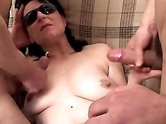 Depraved mature gets double cumload