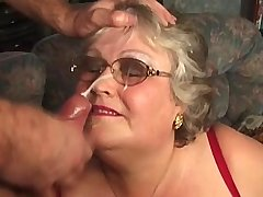 Fat granny has hard fuck from behind n gets facial