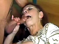 Dickride ends with hot cum jet on lewd moms face