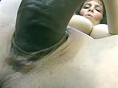 Busty mature plays with monster dildo outdoors