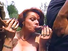 Old jerks share mature whore in vulgar dress outdoors
