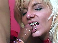 Hot blond mom in skimpy red dress gets banged senseless