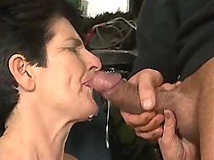Aged mature catches cumshot after sex in all holes