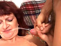 Old lewd mature has hard anal fuck and gets facial