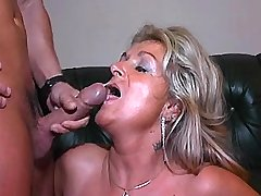 Mature gets facial after fuck in all holes in orgy