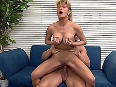 Cute mature does hot blowjob and jumps on big cock