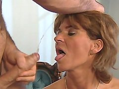 Beautiful elder mature has hard fuck n gets facial